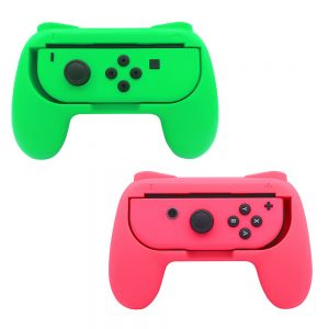 Nintendo Switch Joy-Con Controller Grips Wear Resistant Handle Kit - Green and Pink (2pcs)