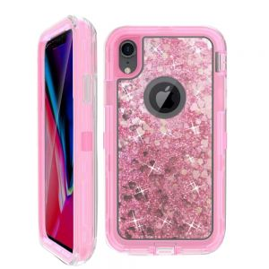 Dynamic Glitter Liquid Armor Case Defender Quicksand Hybrid Cover Phone Case For Apple iPhone XR - Pink