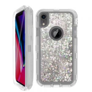Dynamic Glitter Liquid Armor Case Defender Quicksand Hybrid Cover Phone Case For Apple iPhone XR - White