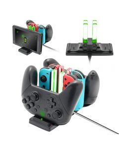 Charging Dock Stand Joy Con Controller Switch Pro Controller Type-C LED Charger Game Controller Charging Stand For Nintendo Switch - Black
