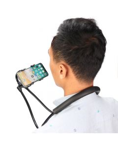 Universal 360 Degree Rotation Lazy Over-the-Neck Hands-free Holder for Phones - Black