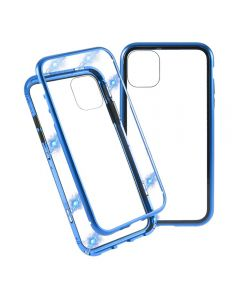 Magnetic Adsorption Metal Frame Tempered Glass Phone Cover Case For Apple iPhone 11 6.1'' - Blue