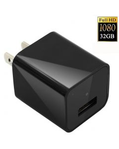 1080P HD USB Wall Charger Hidden Spy Camera  Nanny Spy Camera Adapter 32GB Internal Memory - Black