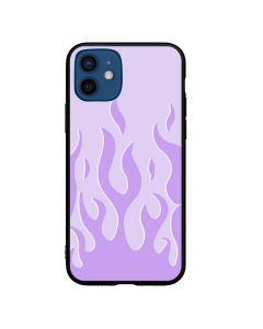 Fashion Lavender Purple Flame Fire Soft Phone Back Case Cover For Apple iPhone 12 / iPhone 12 Pro