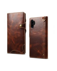 Luxury Retro PU Leather Shockproof Flip Wallet With Magnetic Clasp Phone Cover Case Back Case Cover For Samsung Galaxy Note 10 - Brown