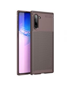 Luxury Carbon Fiber TPU Thin Protective Phone Cover Case Back Case Cover For Samsung Galaxy Note 10 - Brown