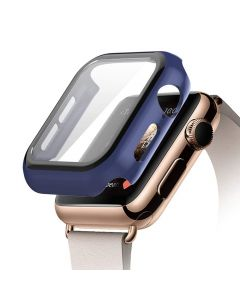 Bumper Hard Cover Case With Tempered Film Glass Screen Protector Coverage For Apple Watch 40mm Series 4 / 5 / 6 - Blue