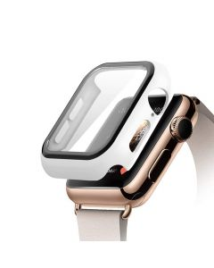 Bumper Hard Cover Case With Tempered Film Glass Screen Protector Coverage For Apple iWatch 44mm Series 4/5 - White