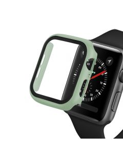Bumper Hard Cover Case With Tempered Film Glass Screen Protector Coverage For Apple iWatch 44mm Series 4/5 - Mint Green