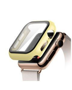 Bumper Hard Cover Case With Tempered Film Glass Screen Protector Coverage For Apple iWatch 44mm Series 4/5 - Yellow
