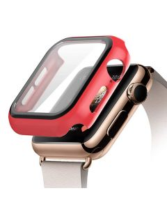 Bumper Hard Cover Case With Tempered Film Glass Screen Protector Coverage For Apple iWatch 44mm Series 4/5 - Red