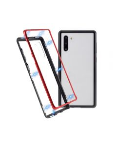 Magnetic Adsorption Metal Tempered Glass Hybrid Phone Cover Case Back Case Cover For Samsung Galaxy Note 10 - Black/Red