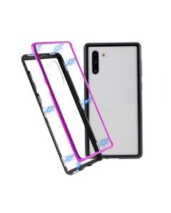 Magnetic Adsorption Metal + Tempered Glass Hybrid Phone Cover Case Back Case Cover For Samsung Galaxy Note 10 - Black/Purple