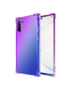 Gradient Silicone Bumper Soft Anti-Scratch Shockproof Thin Phone Cover Back Case Cover For Galaxy Note 10 - Purple/Blue