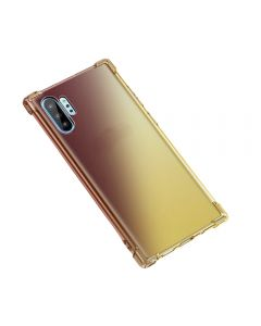 Gradient Silicone Bumper Soft Anti-Scratch Shockproof Thin Phone Cover Back Case Cover For Galaxy Note 10 - Black/Gold