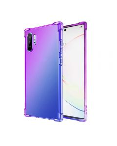 Gradient Silicone Bumper Soft Anti-Scratch Shockproof Thin Phone Back Case Cover For Galaxy Note 10+ Plus - Purple/Blue