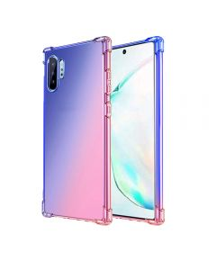 Gradient Silicone Bumper Soft Anti-Scratch Shockproof Thin Phone Back Case Cover For Galaxy Note 10+ Plus - Blue/Pink