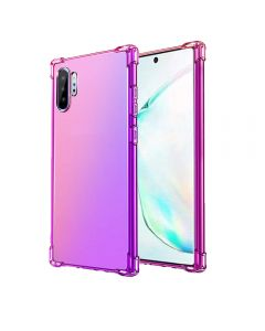 Gradient Silicone Bumper Soft Anti-Scratch Shockproof Thin Phone Back Case Cover For Galaxy Note 10+ Plus - Pink/Purple
