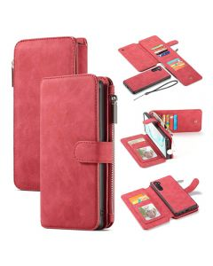Multi Function Zipper Wallet Magnetic Detachable 2 In 1 Back Cover Case For Samsung Galaxy Note 10 - Red