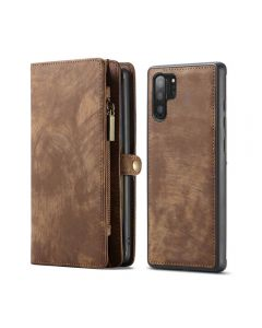 Multi Function Zipper Wallet Magnetic Detachable Phone Cover Case Back Case Cover For Galaxy Note 10+ Plus - Brown