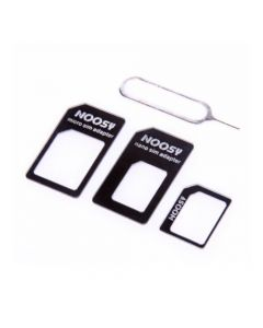 Nano To Micro / Normal Sim Card Adapter for Apple iPhone / Android Phone User - Black