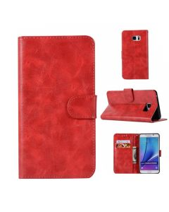 Samsung Galaxy Note 5 Deluxe PU Leather Luxury Wallet 2 in 1 Case - Red