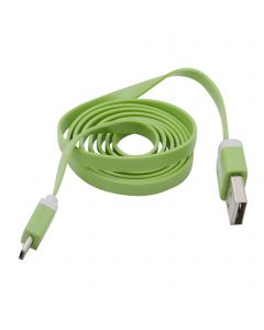 3 Feet  Micro USB Flat Noodle Data Sync Charging Cable - Green