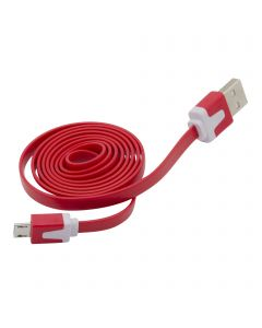 3 Feet  Micro USB Flat Noodle Data Sync Charging Cable - Red