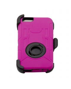 Rugged Shockproof Defender Armor Case with Rotating Belt Clip / Kickstand for iPhone 6 Plus - Hot Pink