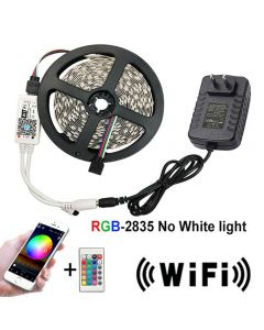 5M WiFi LED Strip Light RGB Waterproof SMD 2835 With 24 Key String Diode Flexible Ribbon WiFi Controller Light + Adapter Plug