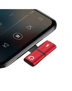 Lightning Splitter Dongle Charging And Listening Music Sync Data Adapter For Apple iPhone's / iPad - Red