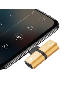 Lightning Splitter Dongle Charging And Listening Music Sync Data Adapter For Apple iPhone's / iPad - Gold