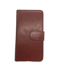 """iPhone 7 Plus / 8 Plus 5.5 """" Deluxe PU Leather Flip Wallet Cover Case - Brown"""