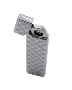 USB Rechargeable Coil Windproof Flame-less Slim Electronic Lighter - Checkered Silver