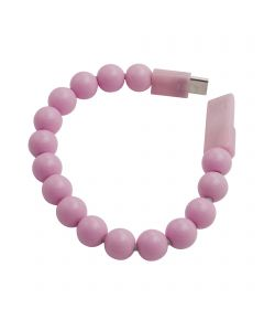 Beads Bracelet USB Charging / Sync Cable USB Type-C Connector - Light Pink