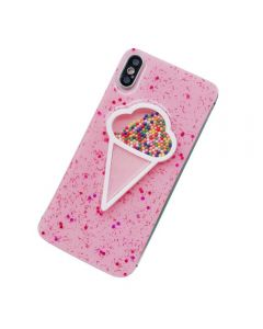 3D Dynamic Pink Ice Cream Phone Cover Case for Apple iPhone X / iPhone XS