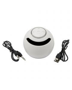 Wireless Bluetooth Subwoofer Circular Stereo Portable Mini Handsfree Speakers - White