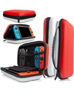 Nintendo Switch Console Protective Hard Portable Travel Shell Pouch Carry Case - Red and White
