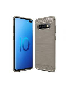 Soft Silicone Bumper Shockproof Carbon Fiber Protective Case Compatible With Samsung Galaxy S10 - Grey