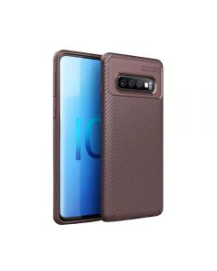 Slim Carbon Fiber Fingerprint Resistant Soft Protective Case TPU Back Cover Compatible With Samsung Galaxy S10 - Brown