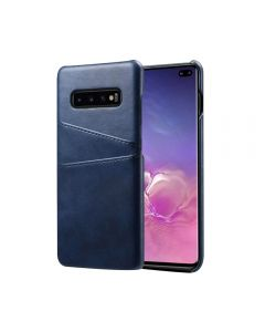Premium PU Leather Card Slot Protective Back Cover Case Compatible With Samsung Galaxy S10 - Blue