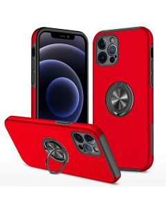 Shockproof 360 Magnetic Protective Case With Ring Holder For Apple iPhone 13 Pro - Red