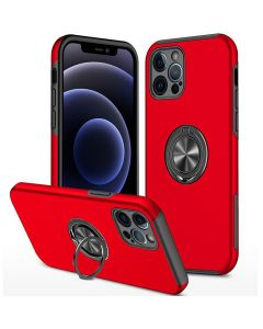 Shockproof 360 Magnetic Protective Case With Ring Holder For Apple iPhone 13 Pro Max - Red