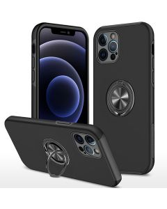 Shockproof 360 Magnetic Protective Case With Ring Holder For Apple iPhone 13 Pro Max - Black