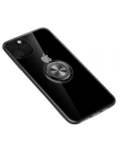 Shockproof Silicone TPU Tempered Glass Finger Ring Holder With Magnetic Support Cover Case For Apple iPhone 11 Pro Max 6.5'' - Black