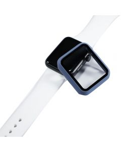 Bumper Hard Cover Case With Tempered Film Glass Screen Protector Coverage For Apple iWatch 42mm Series 1/2/3 - Blue