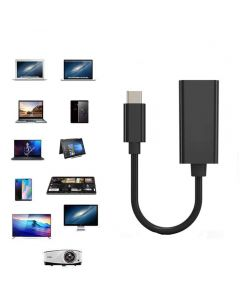 USB C To HDMI Adapter Display Cable 4K 30Hz Type-C to HDMI For MacBook Pro/Air/iPad Pro/Surface/Android - Black