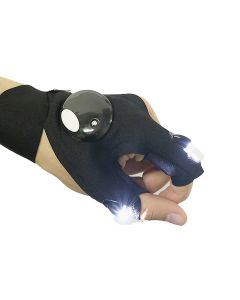 Fingerless Magic Strap LED Flashlight Torch Outdoor Survival Glove Camping Hiking Car Repair Rescue Tool - Left Hand