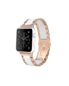 Watch Strap Resin Stainless Steel With Metal Buckle Band Bracelet For Apple iWatch Series 38/40mm - Gold / White