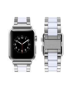 Watch Strap Resin Stainless Steel With Metal Buckle Band Bracelet For Apple iWatch Series 38/40mm - Silver / White